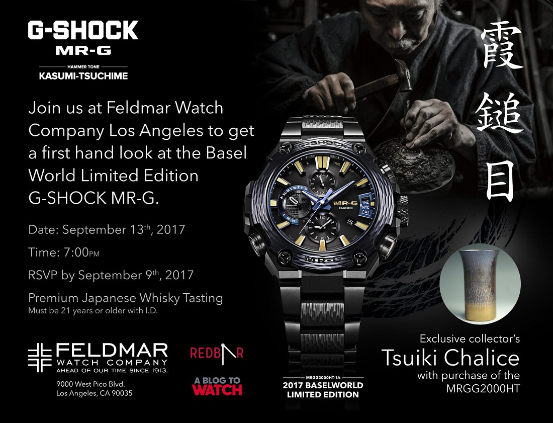 Los Angeles Watch Event: Casio G-Shock MR-G Hammer Tone & Japanese Whisky @ Feldmar Watch Co. On September 13, 2017 Shows & Events