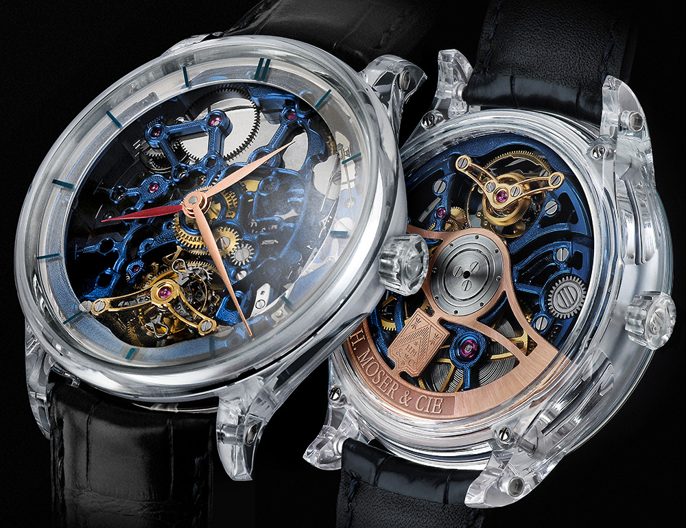 H. Moser & Cie. Venturer Tourbillon Dual Time Sapphire Blue Skeleton Watch