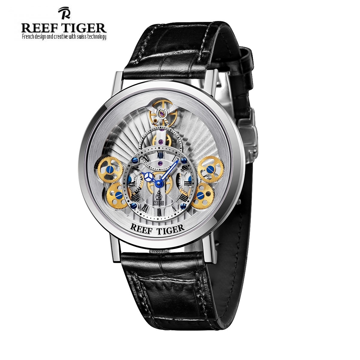 Reef Tiger Artist Rotation The Modern Skeleton Watch With Gold Dial Watch RGA1958