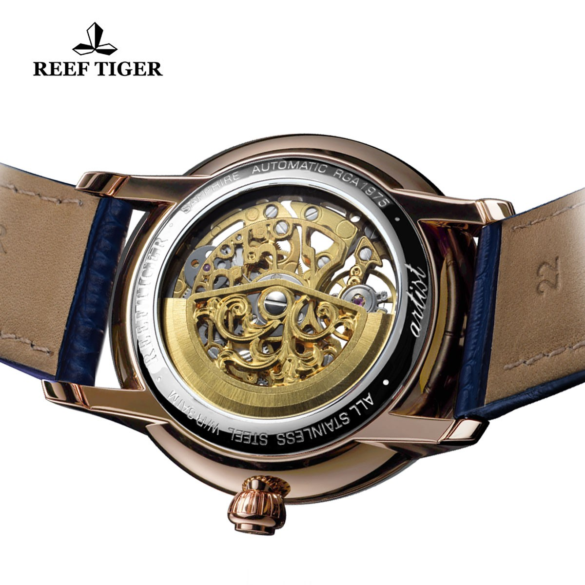 Let Us Review The Reef Tiger Artist Musician Skeleton Dial Blue Inner Bezel Rose Gold Case Automatic Watch RGA1975