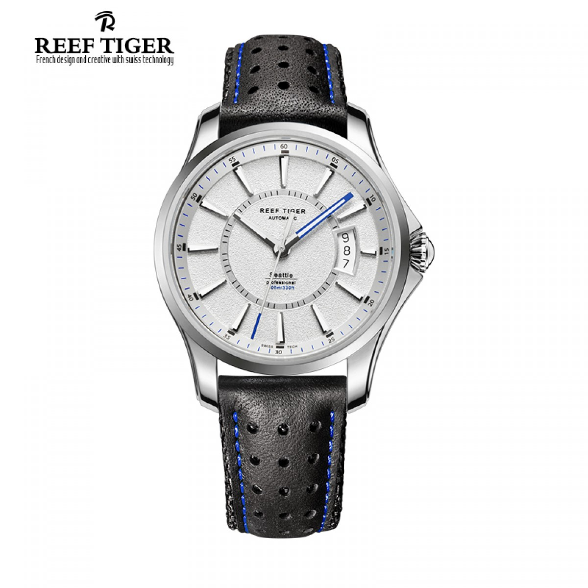 Reef Tiger Seattle Space Needle White Dial Steel Automatic Men's Watch RGA166