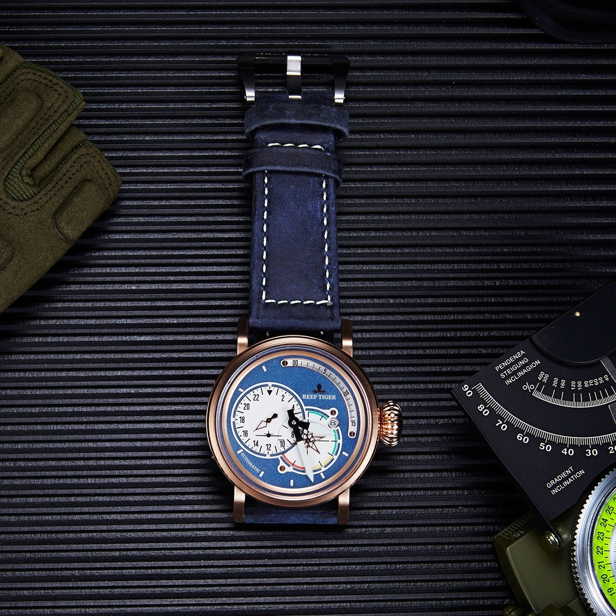 Detailed Review With The Aurora Pilot Blue Dial Blue Leather Rose Gold Case Automatic Men's Watch RGA3019