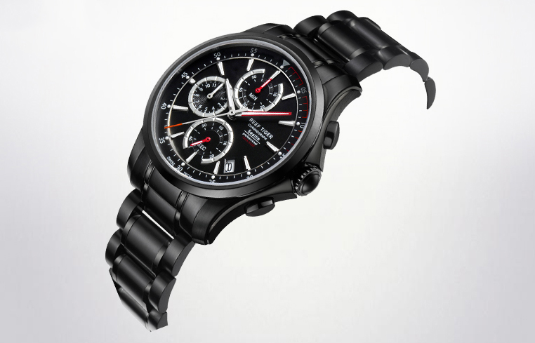 On the Wrist:Reef Tiger Seattle The Pacific Chrono Black Dial Black DLC Men's Watch