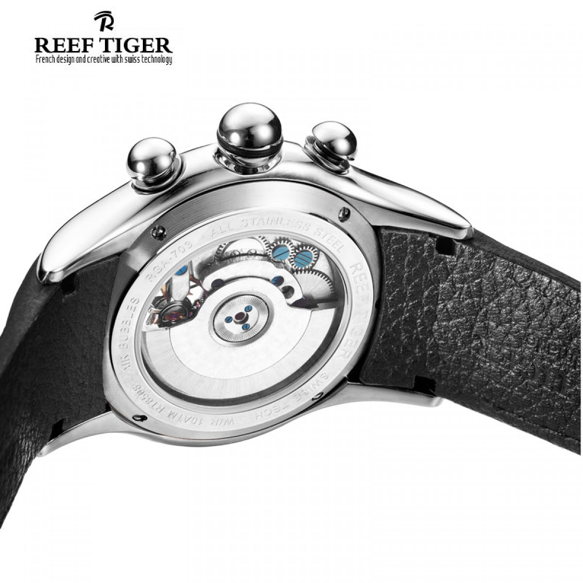 Let Us Review The Reef Tiger Aurora Air Bubble Black Leather Steel Mens Auto Watch RGA703