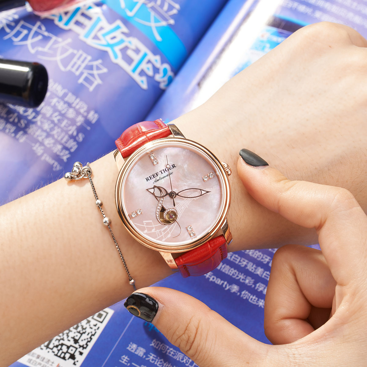A Elegant Timepiece Of Love Melody Rose Gold Pink Dial Red Leather Stick Markers Automatic Watch RGA1582