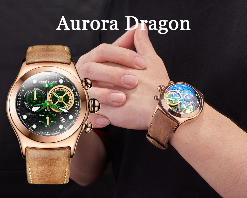 Inspired By The Mythical Creature Dragon Reef Tiger Aurora Dragon Watches Rga782